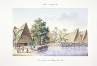 LeJeune, Jules Louis, fl 1804-1851 :Ile Oualan. Vue prise au village de Lele. A. Chazal [1826]