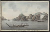 Artist unknown: Gezicht van de Resoluti Baai, op't Eiland St. Christina, een der Marquisen Eilanden [1774. Copied ca 1785]