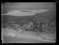 An aerial view of the Tongan coastal capital Nuku'alofa with the Lagoons of Fanga'uta and Fanga Kakau beyond, Tonga