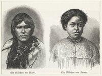 Artist unknown :Ein Madchen der Maori. Ein Madchen von Samoa. Neuseeland. Samoa. [ca 1890]