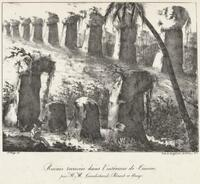 Ruines trouvees dans l'interieur de Tinian par MM. Gaudichaud, Berard et Arago / Jes. Arago del.; lith. de Langlume