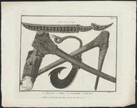 Slate sword, hatchet, moveable hatchet and fish hook / H. Kingsbury sculp