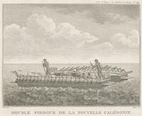 Double pirogue de la Nouvelle Calédonie : Catimarron du Cap de Diemen, Pirogue de L'Île de Ste. Croix / Piron delin. ; Copia sculp. ; Dien scripsit
