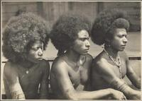 Mekeo types, Village Bioto [three men looking in same direction] Frank Hurley