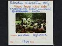 Election education meeting proceeding first universal suffrage vote, Western Highlands, [Papua New Guinea], 1964