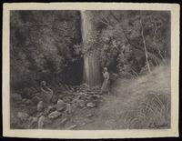 Sandys, Edward Roper Stapleton, b 1845 :Waterfall, Akaroa, NZ. [ca 1888-1889]
