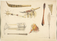 [Angas, George French], 1822-1886 :Pandian pipes from Navigator I[sland]; tabuing mace; cap [?] of feathers [and other objects from] Loyalty Id, Fiji [?] [and] N[ew] Caledonia. [1844?]