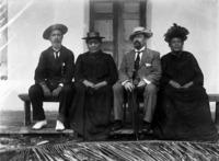 Pa Ariki, Queen Makea, Hon C H Mills and Tinomana Ariki, Rarotonga - Photograph taken by G A Read