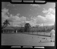 Playing bowls on the bowling green, Ba, Fiji