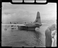 TEAL (Tasman Empire Airways Limited) ZK-AMM flying boat at Samoa