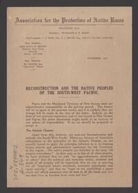 Reconstruction and the native peoples of the south-west Pacific / [A.P. Elkin]