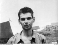 Hollandia, Dutch New Guinea. 1944-04. Roy Barber of Walla Walla, NSW, was one of the two Australians rescued after the Allied occupation of Hollandia. Prior to the Japanese occupation of that base ..