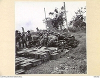 KAIRIRU ISLAND, NEW GUINEA, 1945-09-08. STAFF OFFICERS OF HQ 6 DIVISION EXAMINING A JAPANESE WEAPON DUMP. THE STAFF OFFICERS VISITED THE ISLAND TO MAKE ARRANGEMENTS WITH JAPANESE STAFF OFFICERS FOR ..