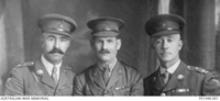 C. 1922. STUDIO PORTRAIT OF THE THREE COMMANDING OFFICERS OF 27TH BATTALION DURING WORLD WAR 1. LEFT TO RIGHT: LIEUTENANT COLONEL (LT COL) FREDERICK CHALMERS CMG DSO (COMMANDER 1917-12 TO 1919); LT ..