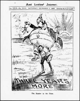 Caricature of New Zealand premier Richard Seddon, enormously fat, with 'overwhelming majority' written across his stomach, being carried on the bowed down shoulders of a weary man representing New Zealand. In the shadow cast on the grass is written 'three years more' [as elected premier].