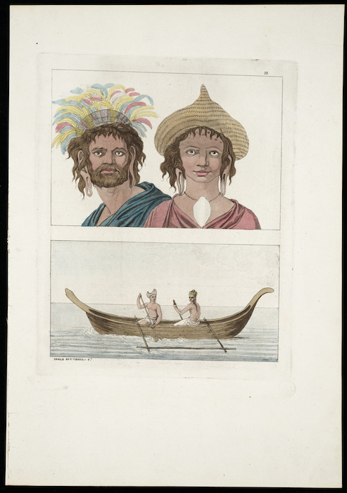 Various artists :[Man and woman of Easter Island 1774; and, Two men in a canoe off Mangaia 1777. 1810-1830? Plate] 88.