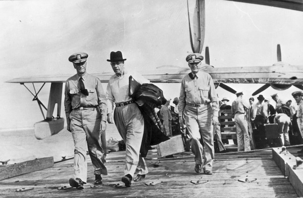Peter Fraser at a naval air station near Pearl Harbour