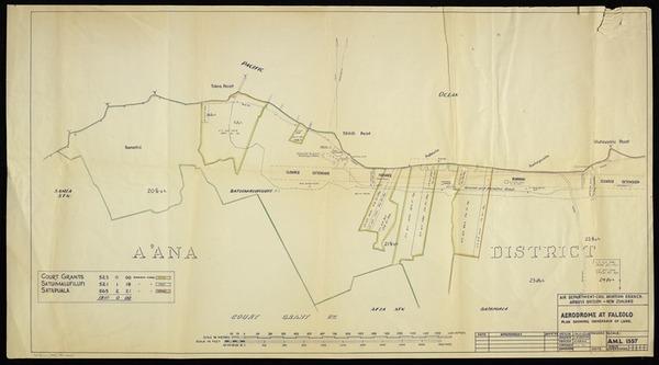 Aerodrome at Faleolo, plan showing ownership of land [copy of ms map]. [1943]. A.M.L.1557. Drawn by J.B. Radford