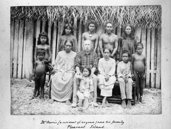Andrew, Thomas, 1855-1939 :Mr Harris (a resident of 40 years) and his family, Pleasant Island