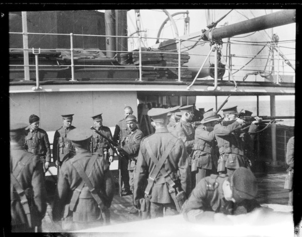 New Zealand soldiers, on board a troopship en route to Samoa, during World War 1