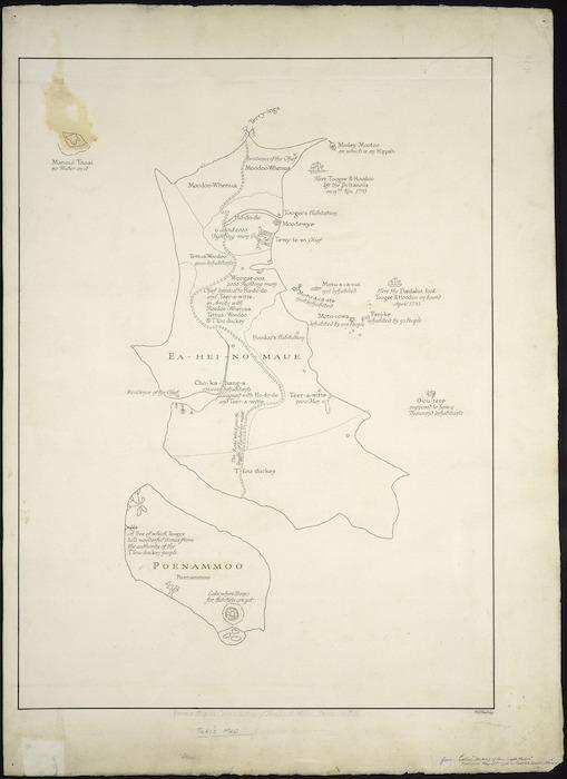 New Zealand Department of Internal Affairs Centennial Publications Branch :Tuki's map [copy of ms map]. [ca.1940]. Originally by Tuki Te Terenui Whare Pirau, b. 1769?