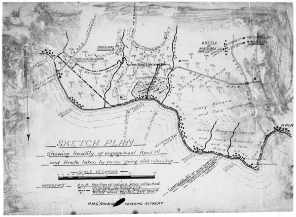 Sketch plan relating to events during the civil war in Samoa 1888-1889