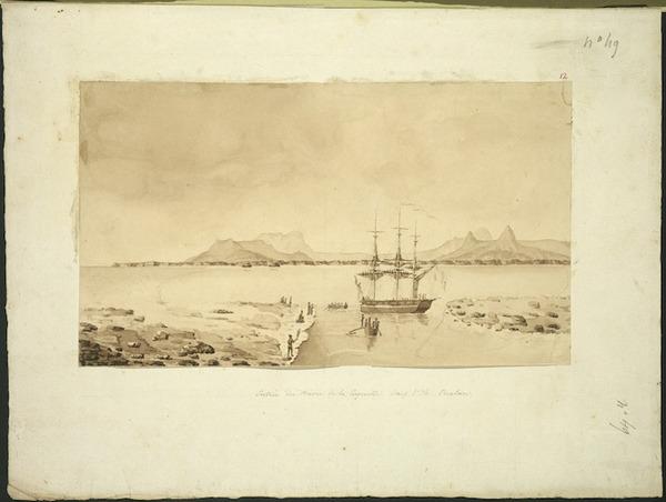 [LeJeune, Jules Louis] fl 1804-1851 :Entree du havre de la Coquille dans l'ile Oualan [Copied by Antoine Chazal, 1826, from an 1824 drawing by Jules LeJeune]