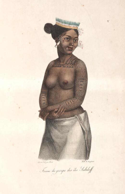Femme du groupe des iles Saltikoff / dess. et lith. par Choris, lith. de Langlume