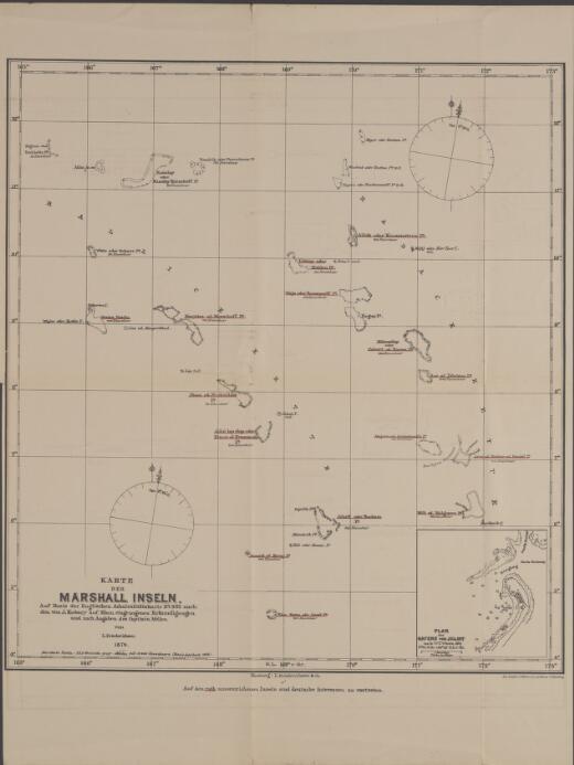 Karte der Marshall Inseln : auf basis der englischen Admiralitätskarte No. 983 nach den von J. Kubary auf Ebon eingezogenen Erkundigungen und nach Angaben des Capitain Mellen / von L. Friederichsen