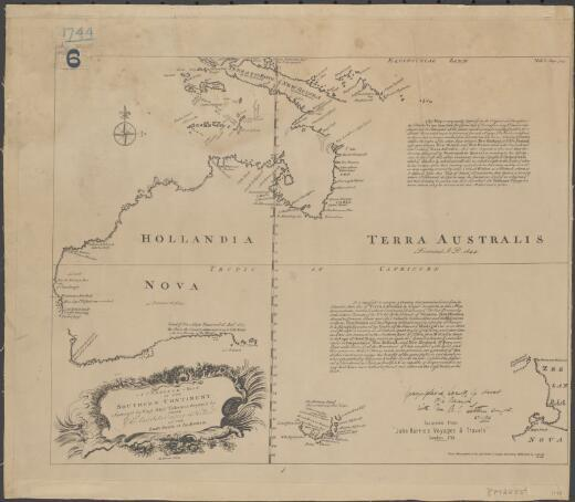 A complete map of the southern continent / survey'd by Capt. Abel Tasman & depicted by the East India Company in Halland in the Stadt House at Amsterdam ; E. Bowen, sculp