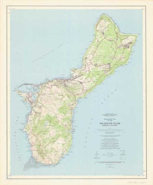 Topographic map of the island of Guam, Mariana Islands / mapped  by the Army Map Service, published for civil use by the Geological Survey, compiled in 1954 by the Army Map Service