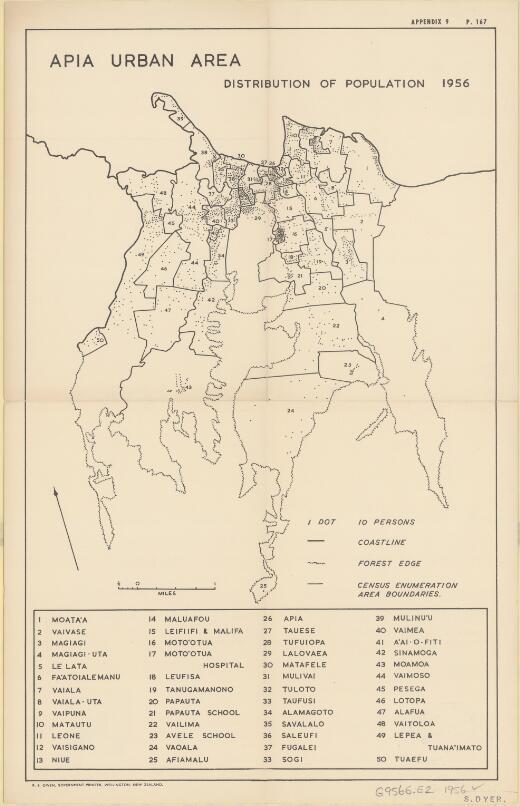 Apia urban area : distribution of population 1956