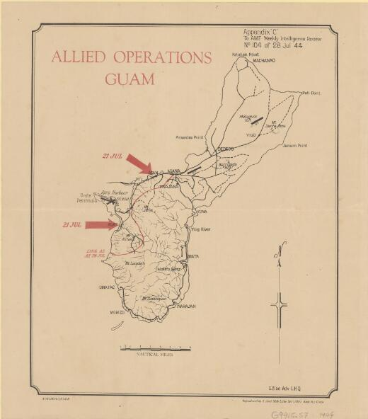 Allied operations Guam / reproduced by 1 Aust Mob Litho Sec (AIF) Aust Svy Corps