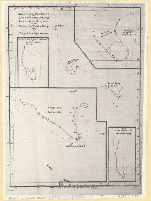 [Bishop's Junction Islands and Bass's Reef-Tied Islands laid down from observations in the Nautilus Capt. Charles Bishop 1799 by George Bass & Roger Simpson]