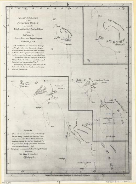 [Chart of Islands in the Pacific Ocean seen in the brig Nautilus Capt. Charles Bishop 1799, laid down by George Bass and Roger Simpson]