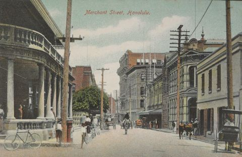 Merchant Street, Honolulu (from Albert Ellis Ocean Island Photograph Album)