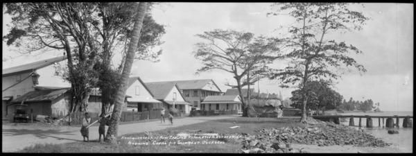 "`Headquarters of New Zealand Reparation Estates ""Apia"" showing copra shipment overseas'"