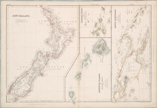 New Zealand ; Sandwich Islands or Hawaiian Group ; Galapagos Islands ; Papuan Archipelago / drawn & engraved by J. Bartholomew, Edinbr