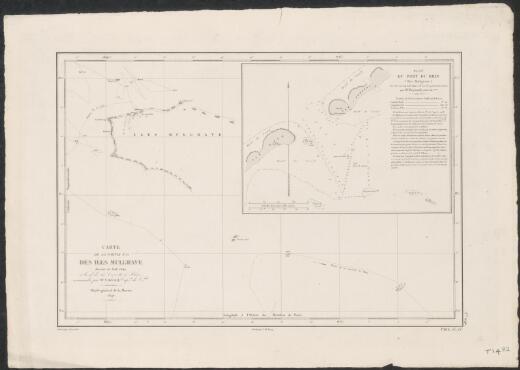 Carte de la partie N.O. des Iles Mulgrave dressee en Aout 1845, a bord de la corvette de Rhin / commandee par Mr A. Berard, Capne de la Vau ; ecrit par J.M. Hacq