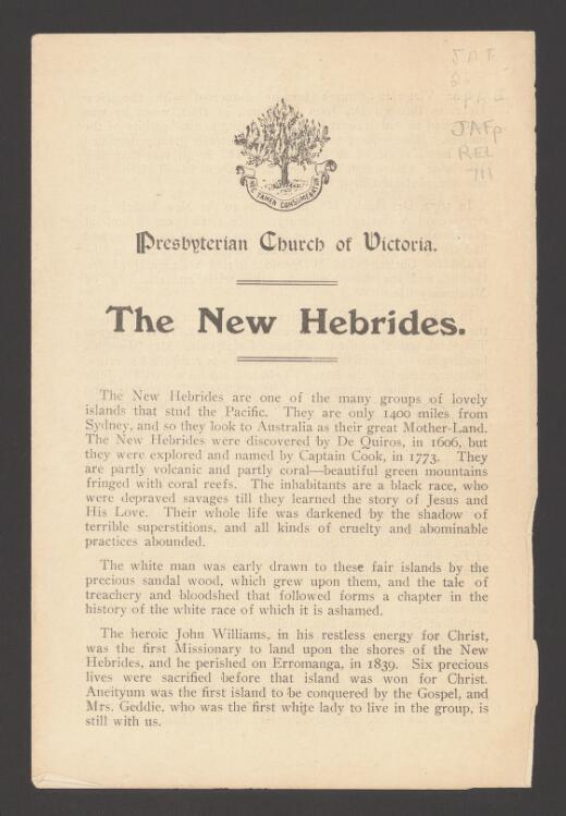 The New Hebrides / Presbyterian Church of Victoria
