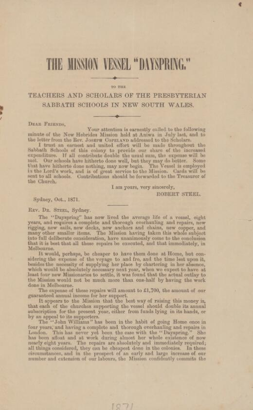 """The mission vessel """"Dayspring"""": to the teachers and scholars of the Presbyterian Sabbath Schools in New South Wales"""