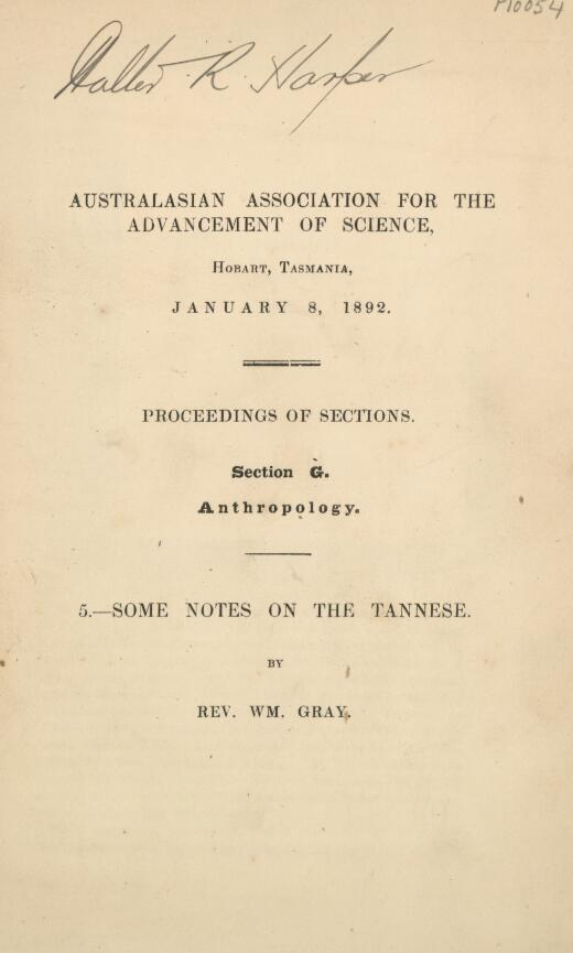 Some notes on the Tannese / by Wm. Gray.