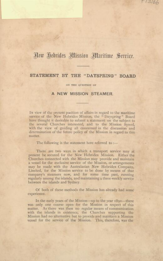 """Statement by the """"Dayspring"""" Board on the question of a new mission steamer"""