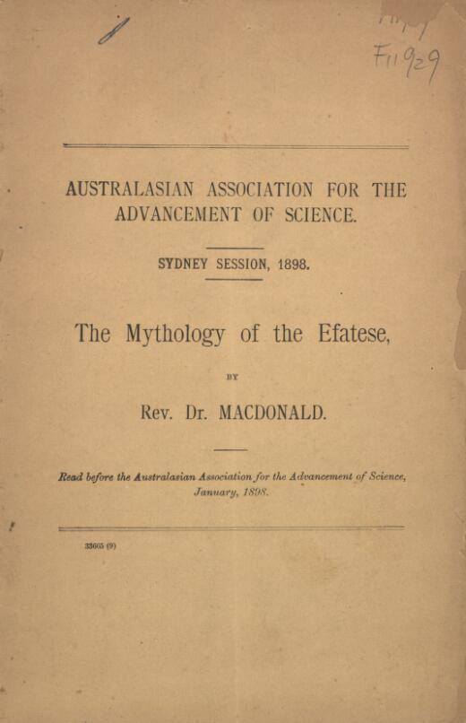 The mythology of the Efatese / by D. Macdonald
