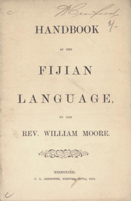 Handbook of the Fijian language / by William Moore