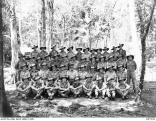 DOBODURA, NEW GUINEA. 1943-10-11. GROUP PORTRAIT OF AUSTRALIAN ARMY SERVICE CORPS, HEADQUARTERS, 11TH AUSTRALIAN DIVISION. LEFT TO RIGHT:- FRONT ROW:- QX16869 PRIVATE J WATKINS; NX153302 CORPORAL R ..