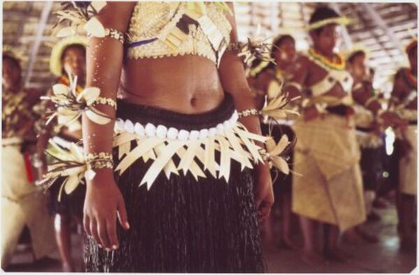 Female dance belts of coconut, shell and palm frond