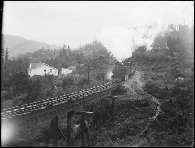 Locomotive on the railway line between Blackball and Roa, West Coast