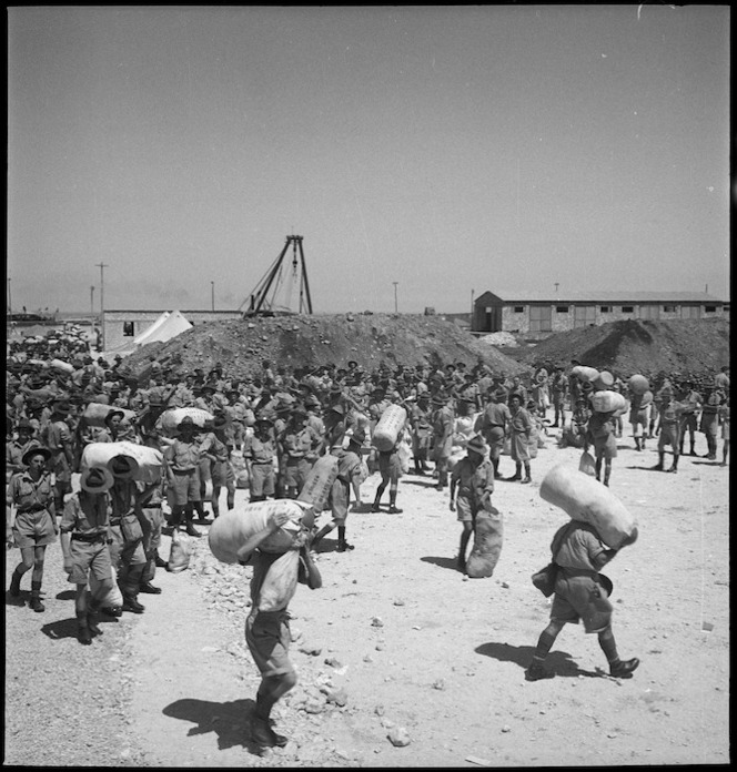 10th reinforcements ready to leave for base camp, Port Tewfik, Egypt, - Photograph taken by M D Elias