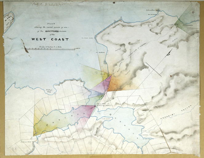 [Brees, Samuel Charles] 1810-1865 :Plan shewing the several points of view of the sketches illustrative of the West Coast. [1844 or 1845]